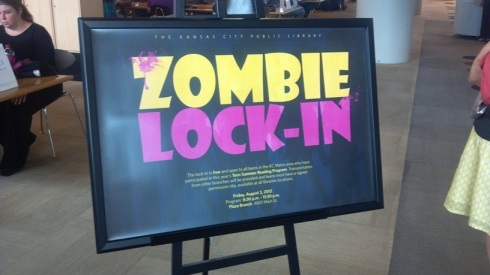 Placard advertising the Zombie Lock-In Event