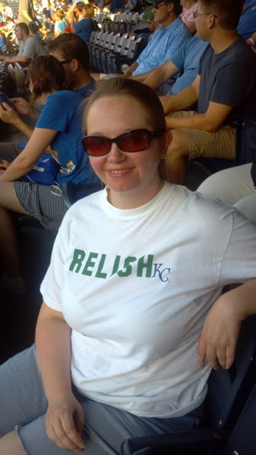 """Holly in a """"Relish"""" t-shirt"""